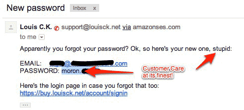 Louis CK Password Reset Email