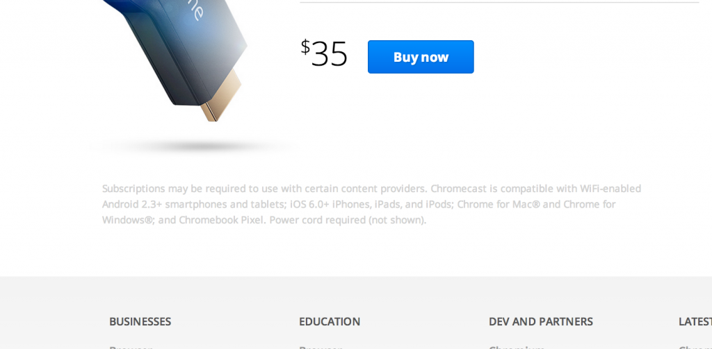Chromecast small print hides that a power cord is required